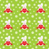 Valentines Day Rabbit Seamless Pattern — Stok Vektör