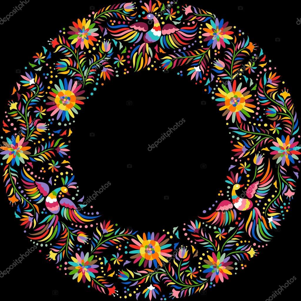 Vector de bordado mexicano redondo patrón marco