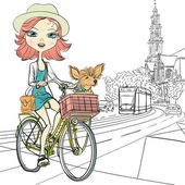 Vector cute girl with dog on the bike in Amsterdam — Stock Vector