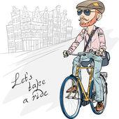 Vector trendy hipster bearded guy on a bike — Stock Vector