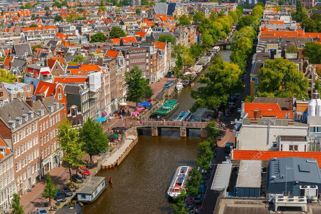 Вид на город Амстердам от Westerkerk, Голландия, Нидерланды, фото 6388485,