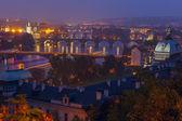 Aerial view over the bridges on the Vltava River in Prague, Czec — Photo