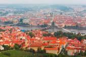 Aerial view over the Vltava River in Prague, Czech Republic — Stock Photo