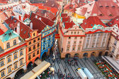 Aerial view over Old Town Square in Prague, Czech Republic — Stock Photo