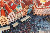Aerial view over Old Town in Prague, Czech Republic — Stock Photo