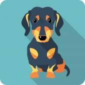 Dog dachshund icon flat design — Stock Vector