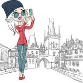 Vector cute girl makes selfie in Prague — Stock Vector