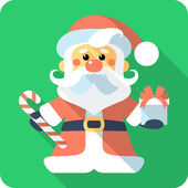 Santa Claus with gifts icon flat design — Stock Vector