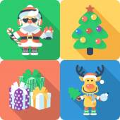 Christmas set icon flat design  — Stock Vector