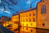 Brugse Vrije and the Green canal in Bruges at night — Stock Photo