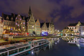 Quay Graslei in Ghent town at evening, Belgium — Stock Photo