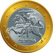 Lithuanian euro gold money coin — Stock Vector