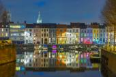 River Leie, colored houses and Belfry tower in Ghent, Belgium — Stock Photo