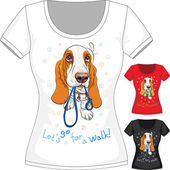 Vector T-shirt with dog Basset Hound — Stock Vector