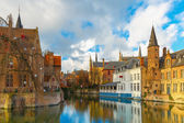 Cityscape from Rozenhoedkaai in Bruges, Belgium — Foto de Stock