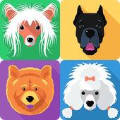 Set dog head icon flat design — Stock Vector
