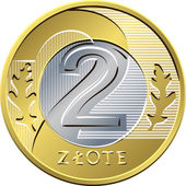 Reverse Polish Money two zloty coin — Stock Vector