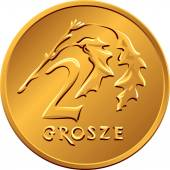 Reverse  Polish Money two groszy copper coin — Stock Vector