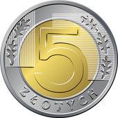Reverse Polish Money five zloty coin — Stock Vector
