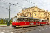 Red tram near National Theatre in Prague, Czech — Stock Photo