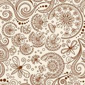 Vector seamless Henna mehndi doodle pattern — Stock Vector