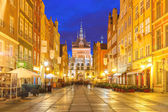 Long Lane and Golden Gate, Gdansk Old Town, Poland — Stock Photo