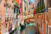 Gondolas on lateral narrow Canal in Venice, Italy — Stock Photo