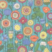 Vector seamless color floral pattern — Stock Vector