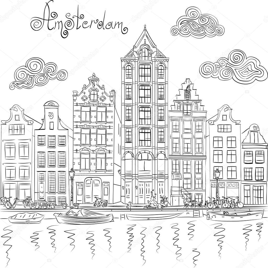 Vector uitzicht op de stad van amsterdamse gracht for Huizen tekenen