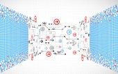 Abstract bezaaid technologische achtergrond met verschillende kaderprogrammavooronderzoek — Stockvector