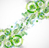 Abstract technology business green colored template background. — Stock Photo