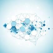 Abstract digital brain, technology concept — Stock Vector
