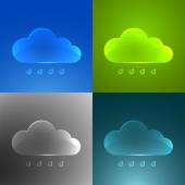 Set of color glass clouds.  — Stock Vector