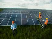 Technicians inspecting solar panel station — Stock Photo