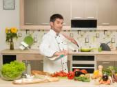 Chef preparing food, fight gesture — Stock Photo