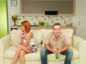 Man won't stop watching television — Stock Photo