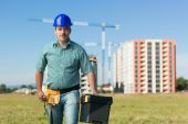 Engineer on residential construction site — Stock Photo