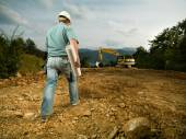 Male construction worker on worksite — Stock Photo