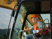 Happy excavator driver — Foto Stock