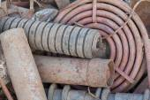 Stack of rusted pipes — Stock Photo