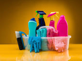 Products for bathroom cleaning — Stockfoto