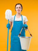 Satisfied cleaning woman — Stock Photo