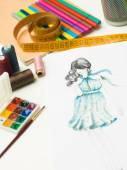 All you need for fashion designing — Stock Photo