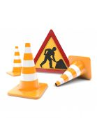 Road works, traffic cones and sign — Stock Photo