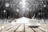 Cup with hot drink on wood table — Foto de Stock