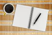 Notebook, pen and coffee — Stock Photo