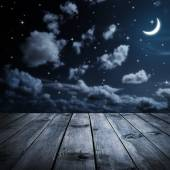 Night sky and wooden planks — Stock Photo