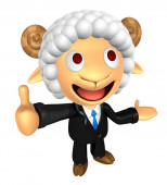 3D Business Sheep mascot the left hand guides and the right hand — Stockfoto