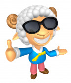 Wear sunglasses 3D Sheep mascot the left hand guides and the rig — Stockfoto