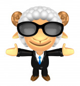 3D Business Sheep mascot has been welcomed with both hands. 3D A — Stock fotografie